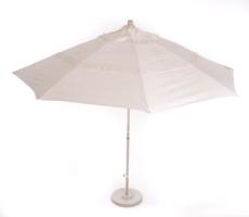 11′ Matted White Market Umbrella w/Base