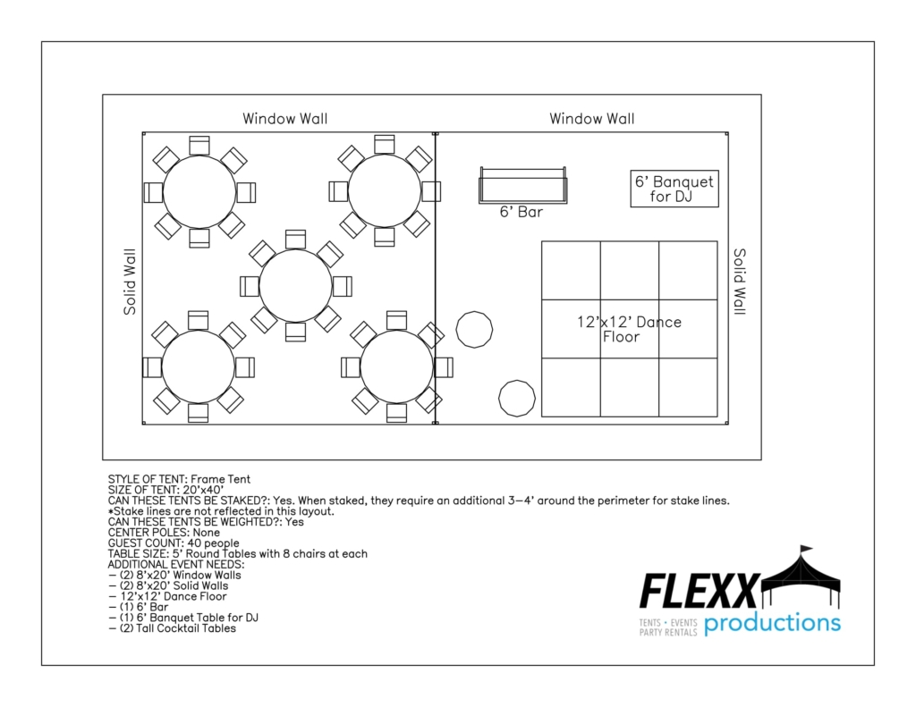 20x40 Frame - Special Event Layout Aerial