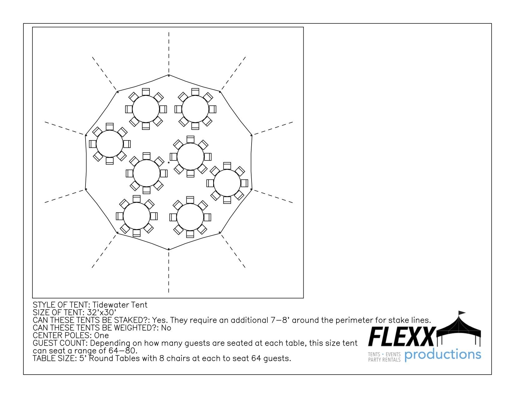 32x30 Flexx Productions Tidewater Tent Layout