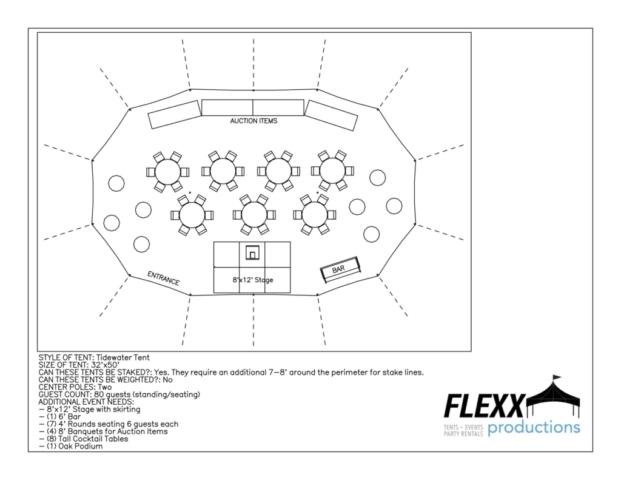 32x50 Flexx Productions Tidewater Tent Layout