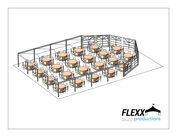 40x40 Flexx Productions Clearspan Tent Layout