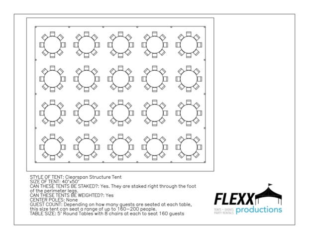 40x50 Flexx Productions Clearspan Tent Layout
