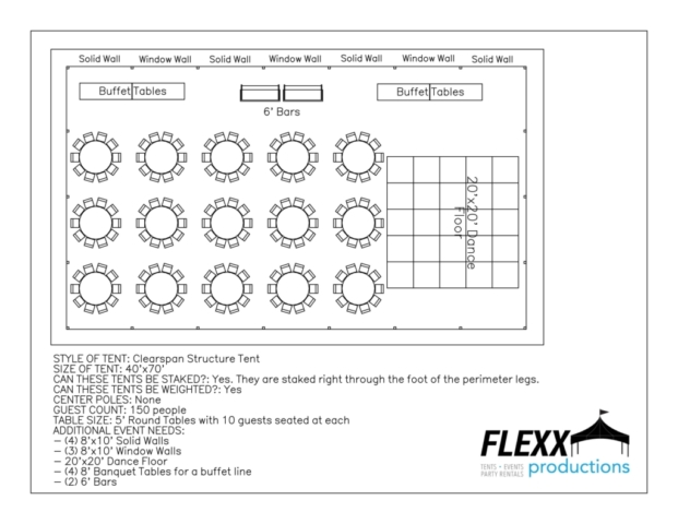 40x70 Flexx Productions Clearspan Tent Layout