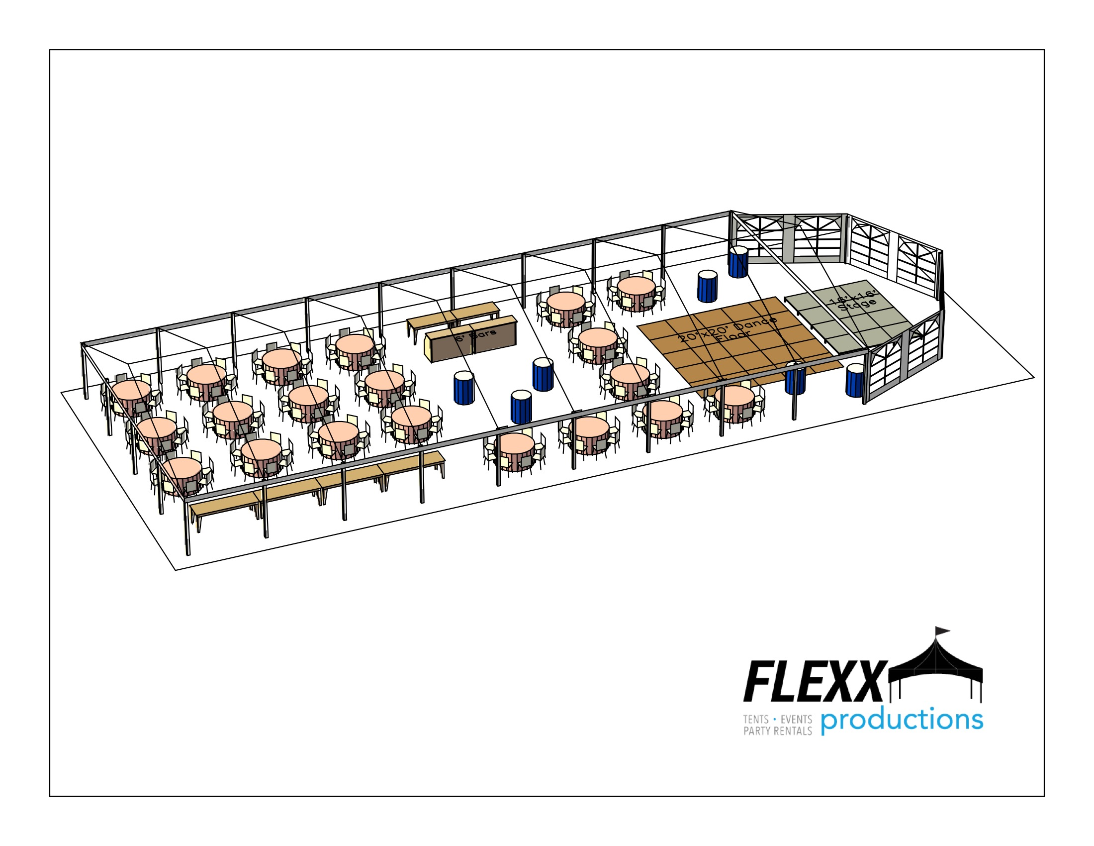 40x90 Flexx Productions Clearspan Tent Layout