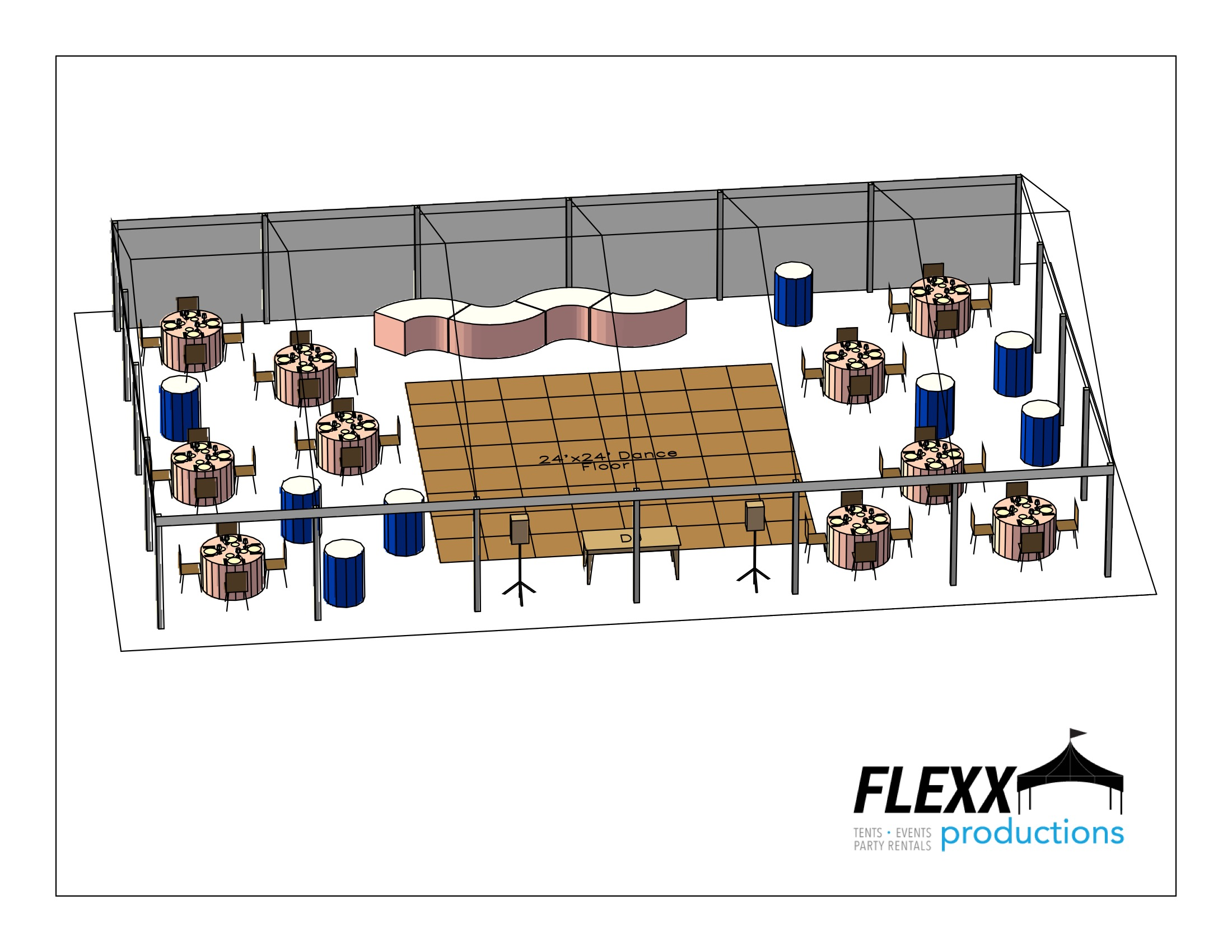 40x60 Flexx Productions Clearspan Tent Layout