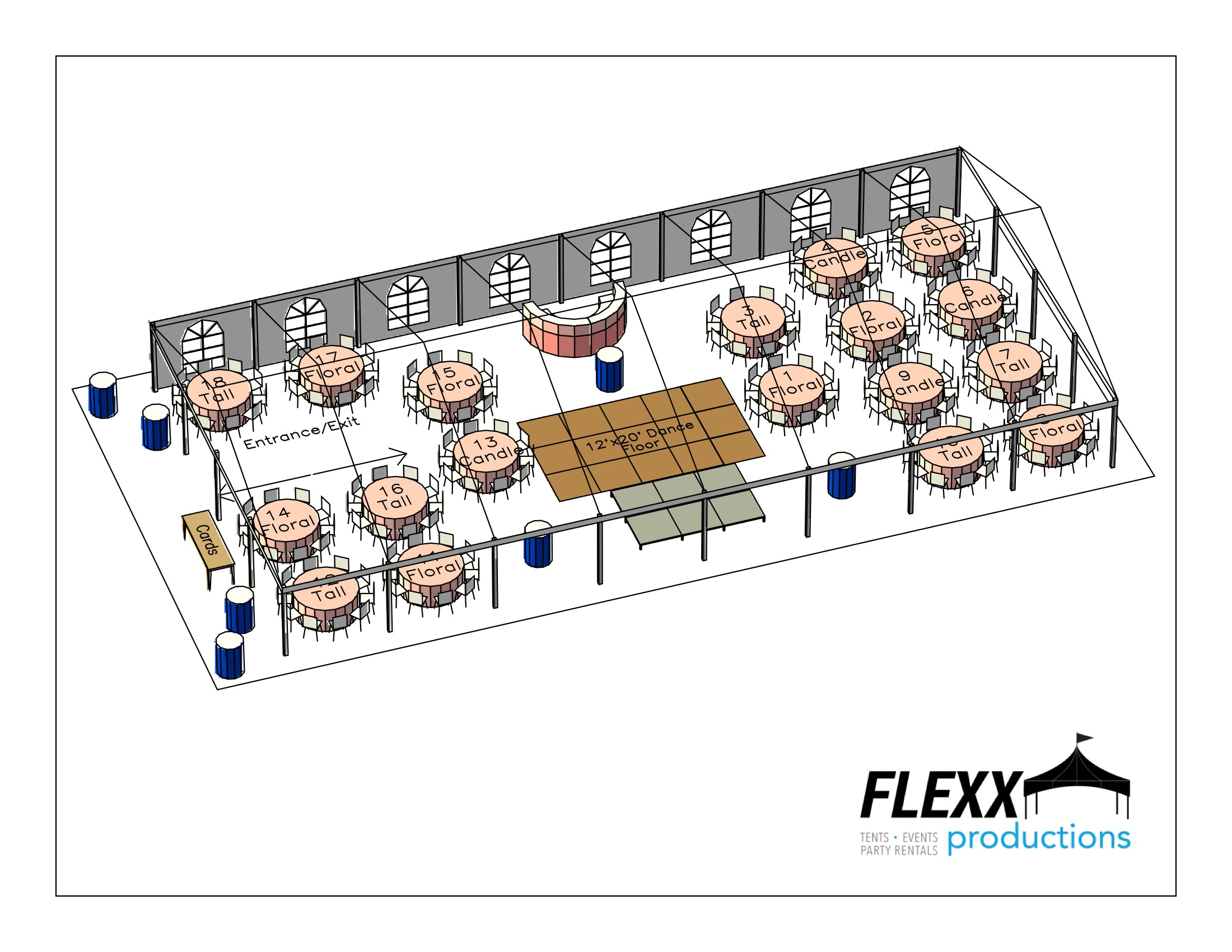 40x80 Flexx Productions Clearspan Tent Layout