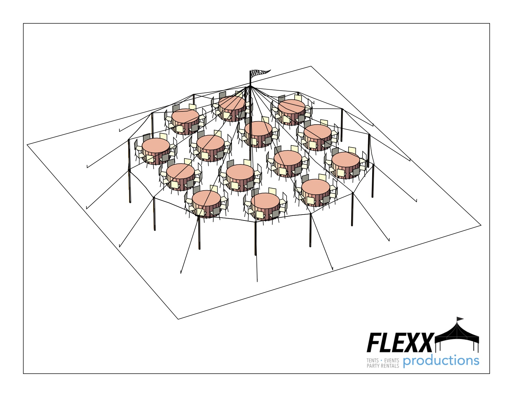 44x43 Flexx Productions Tidewater Tent Layout