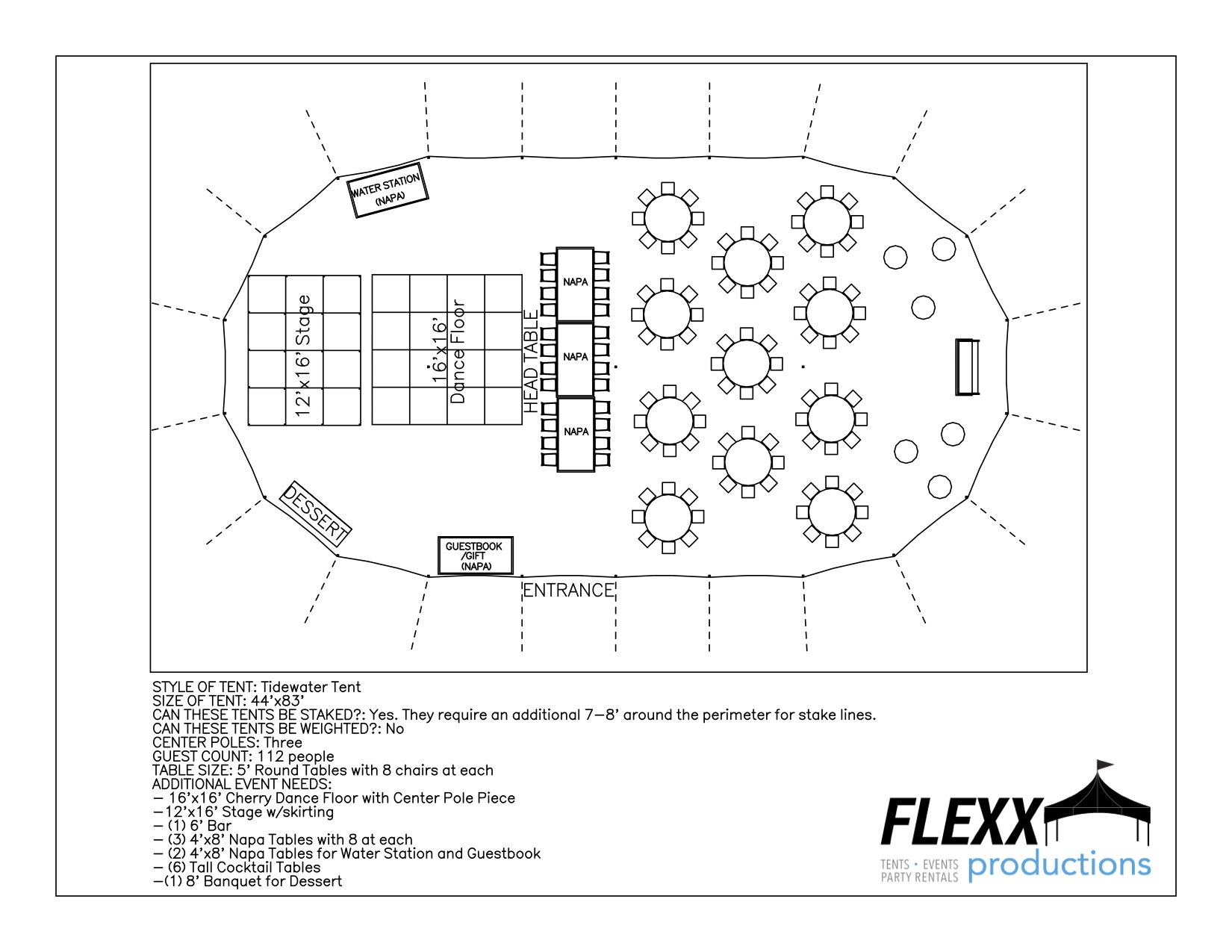 44x83 Flexx Productions Tidewater Tent Layout