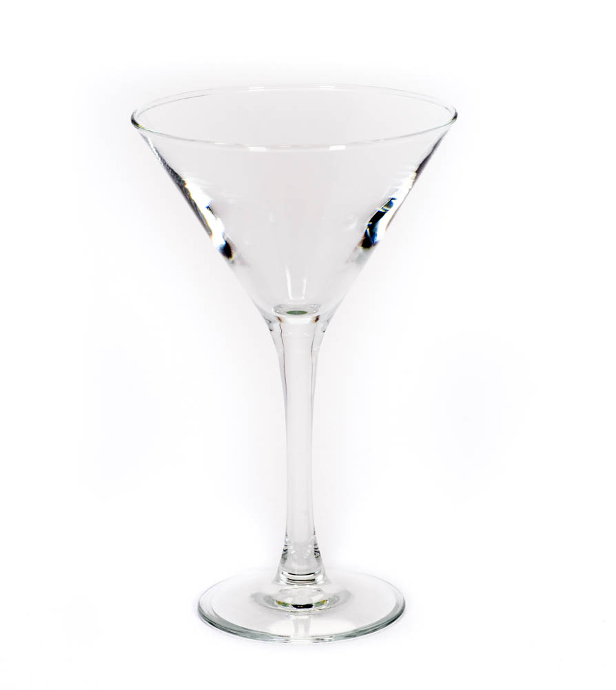 Image of clear 10 ounce martini glass rental from FLEXX Productions