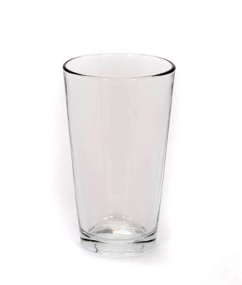 Image of a clear 16 ounce pint glass rental from FLEXX Productions